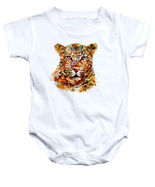 Leopard Head Watercolor Baby Onesie by Marian Voicu