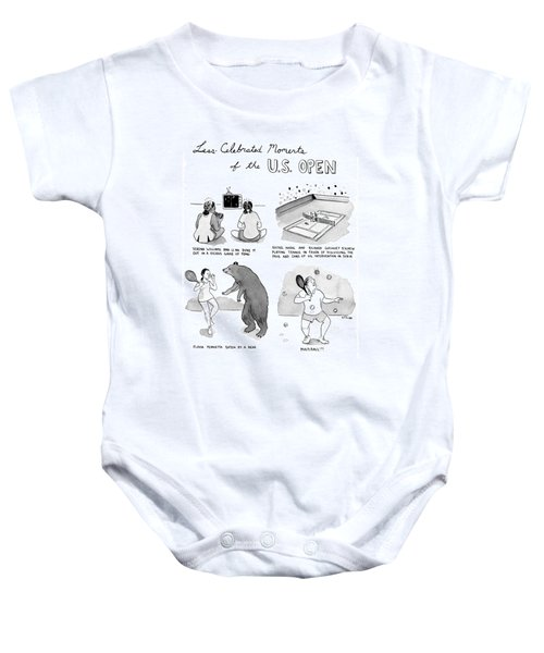 Less Celebrated Moments Of The U.s. Open Baby Onesie by Emily Flake