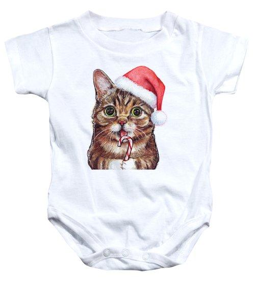 Lil Bub Cat In Santa Hat Baby Onesie by Olga Shvartsur