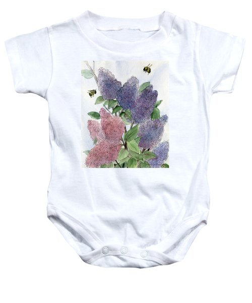 Lilacs And Bees Baby Onesie