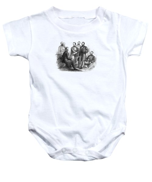Lincoln And His Generals Black And White Baby Onesie