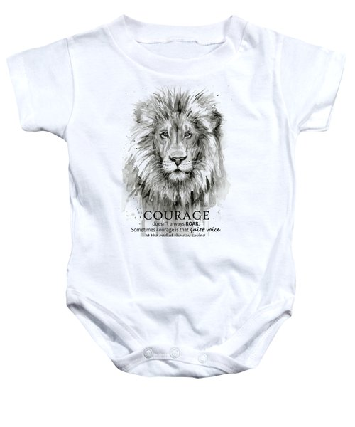 Lion Courage Motivational Quote Watercolor Animal Baby Onesie