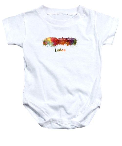 Lisbon V2 Skyline In Watercolor Baby Onesie
