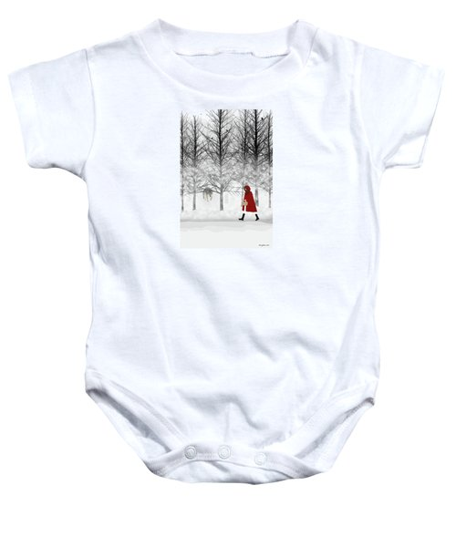 Baby Onesie featuring the digital art Little Red by Nancy Levan