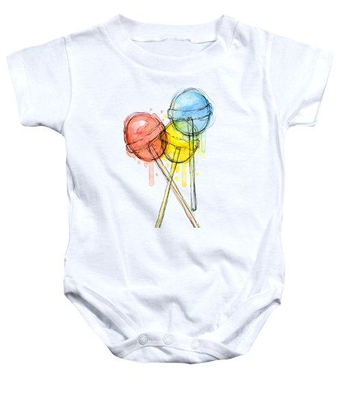 Lollipop Candy Watercolor Baby Onesie by Olga Shvartsur
