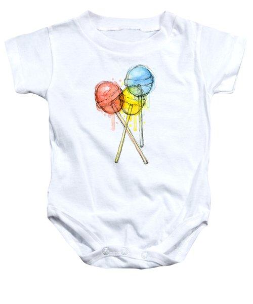 Lollipop Candy Watercolor Baby Onesie