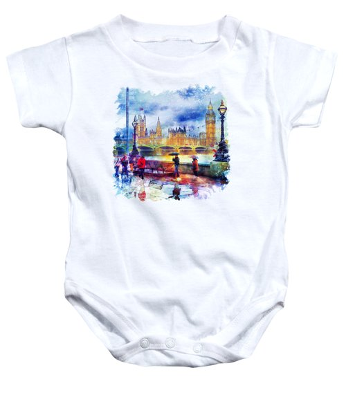 London Rain Watercolor Baby Onesie by Marian Voicu
