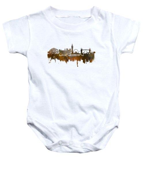 London Skyline City Brown Baby Onesie