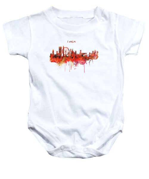 London Skyline Watercolor Baby Onesie by Marian Voicu