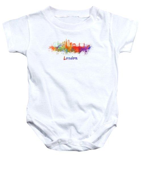 London V2 Skyline In Watercolor  Baby Onesie by Pablo Romero