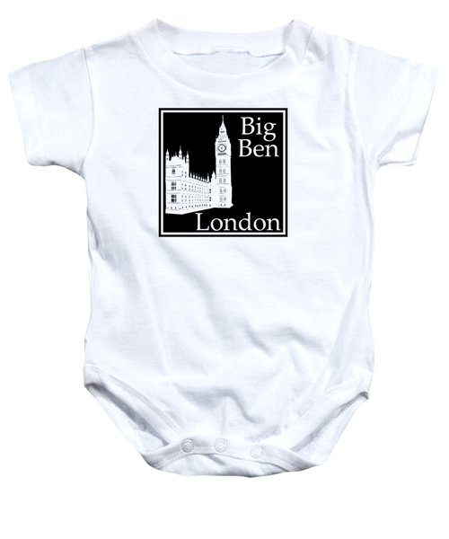 London's Big Ben In Black Baby Onesie by Custom Home Fashions