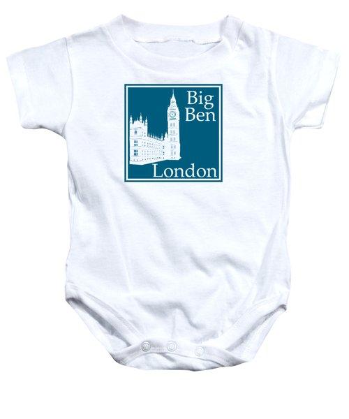 London's Big Ben In Blue Lagoon Baby Onesie