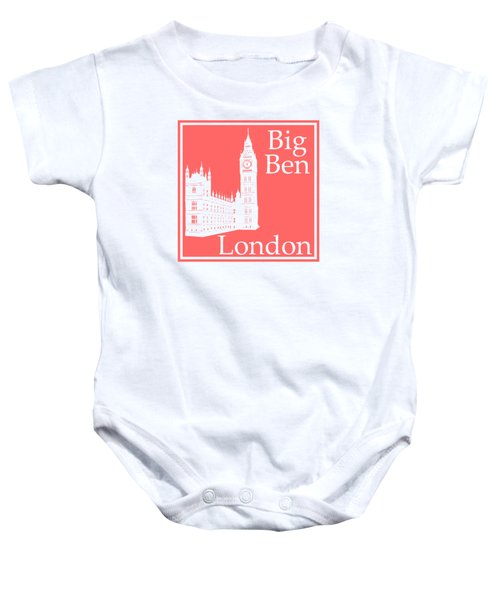 London's Big Ben In Coral Pink Baby Onesie by Custom Home Fashions