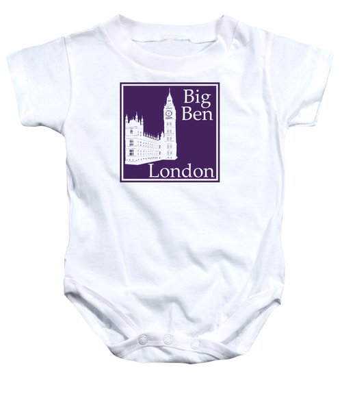 London's Big Ben In Purple Baby Onesie by Custom Home Fashions