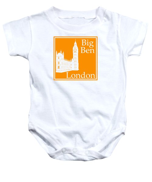 London's Big Ben In Tangerine Baby Onesie by Custom Home Fashions