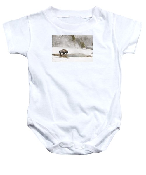 Baby Onesie featuring the photograph Bison Keeping Warm by Gary Lengyel