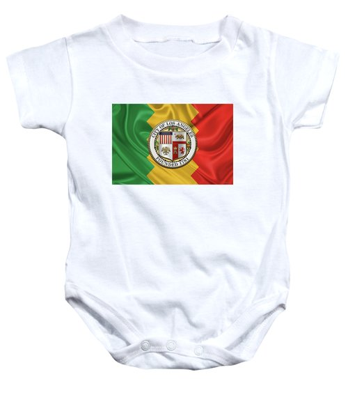 Los Angeles City Seal Over Flag Of L.a. Baby Onesie by Serge Averbukh
