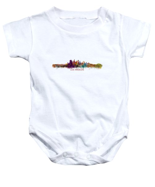 Los Angeles City Skyline Hq V2 Baby Onesie by HQ Photo