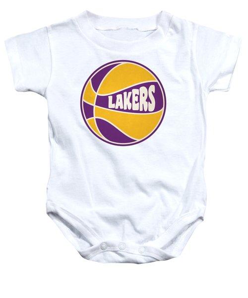 Los Angeles Lakers Retro Shirt Baby Onesie by Joe Hamilton