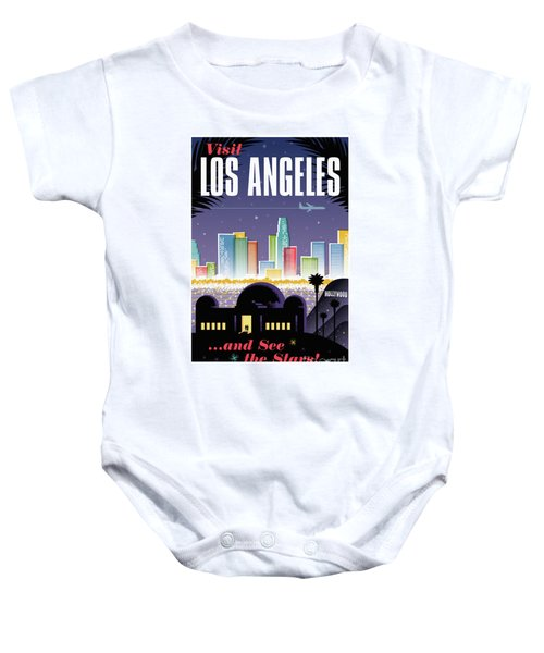 Los Angeles Retro Travel Poster Baby Onesie by Jim Zahniser