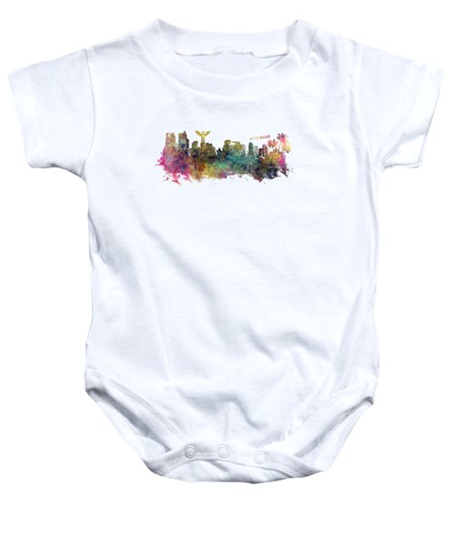 Los Angeles Skyline Baby Onesie by Justyna JBJart