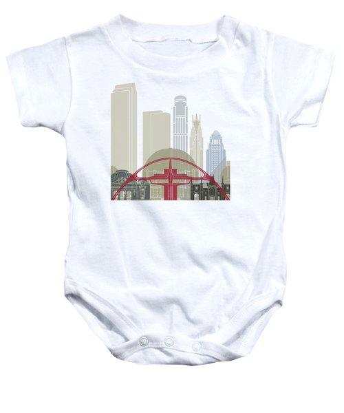 Los Angeles Skyline Poster Baby Onesie by Pablo Romero