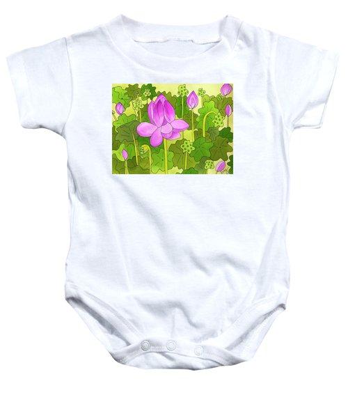 Lotus And Waterlilies Baby Onesie