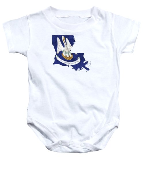 Louisiana Map Art With Flag Design Baby Onesie