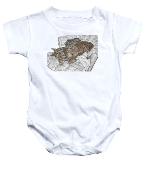Lounge Lizards - Doberman Pinscher Puppy Print Color Tinted Baby Onesie