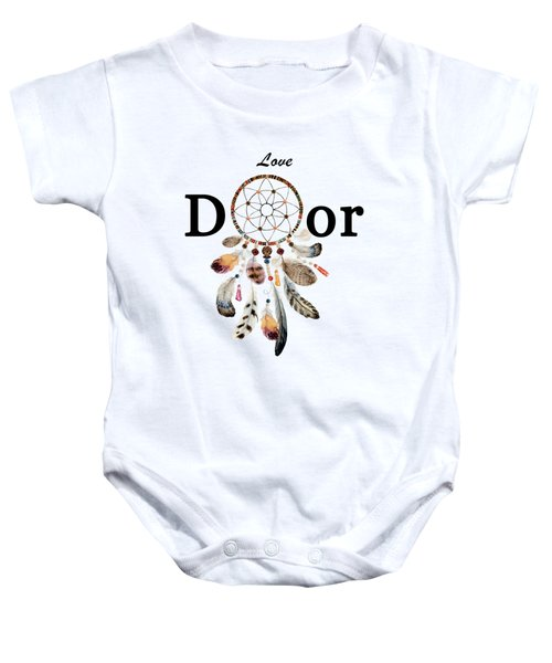 Baby Onesie featuring the painting Love Dior Watercolour Dreamcatcher by Georgeta Blanaru