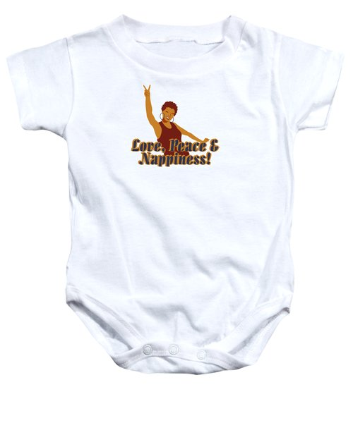 Love Peace And Nappiness Baby Onesie