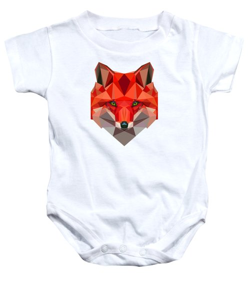 Low Polygon Fox Baby Onesie by Alexandra Dan