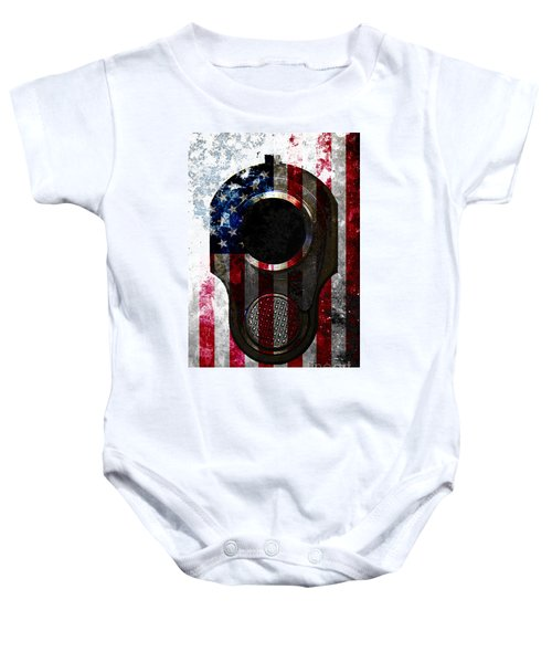 M1911 Colt 45 Muzzle And American Flag On Distressed Metal Sheet Baby Onesie