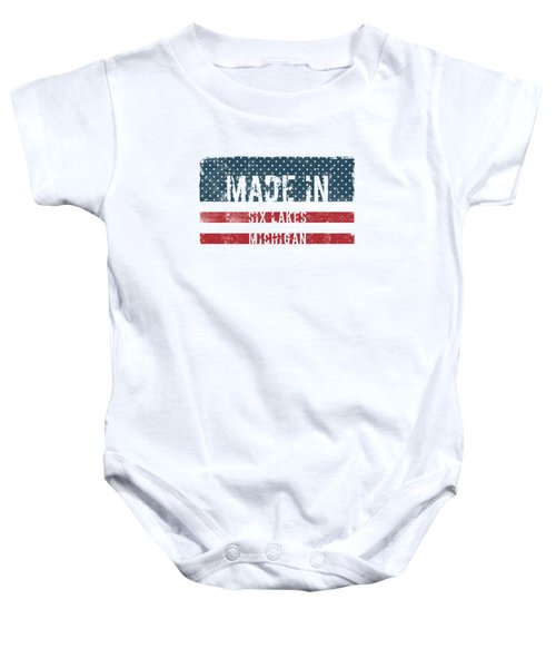 Made In Six Lakes, Michigan Baby Onesie