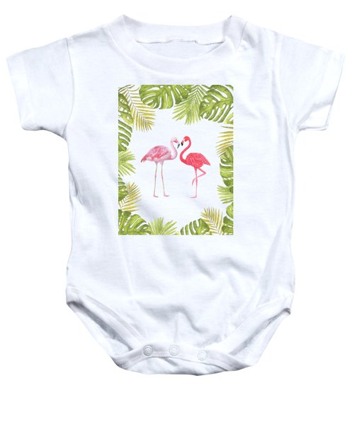 Magical Tropicana Love Flamingos And Leaves Baby Onesie