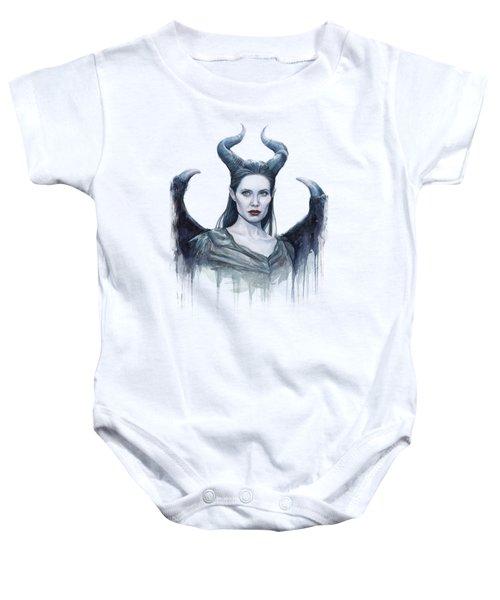 Maleficent Watercolor Portrait Baby Onesie