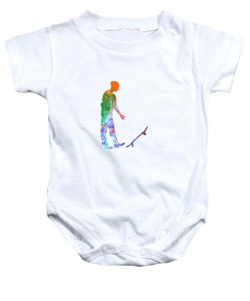 Man Skateboard 09 In Watercolor Baby Onesie