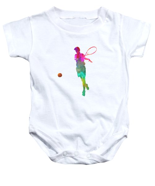 Man Tennis Player 01 In Watercolor Baby Onesie by Pablo Romero