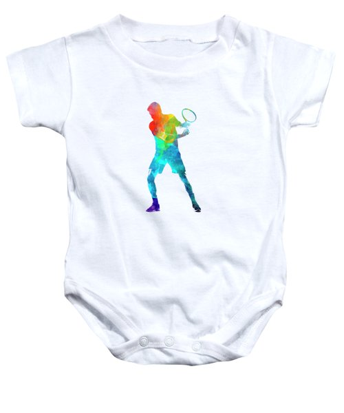 Man Tennis Player 02 In Watercolor Baby Onesie by Pablo Romero
