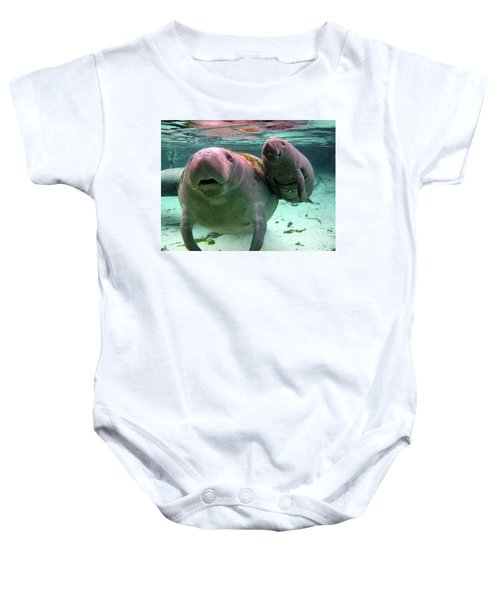 Manatee Mom And Calf Baby Onesie