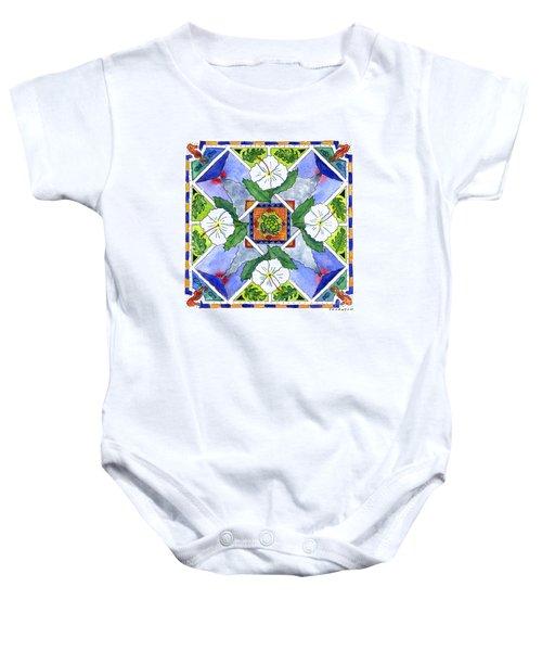 Mandala IIi - White Hibiscus Baby Onesie