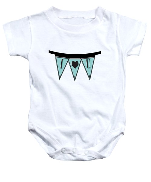 Pennant Deco Blues Streamer Sign I Love You Baby Onesie