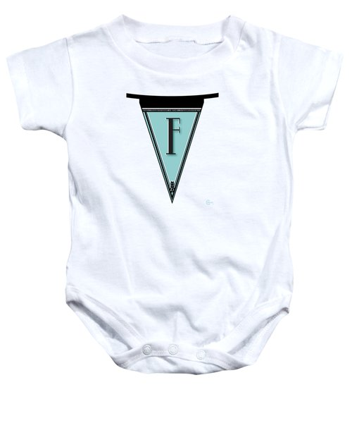 Pennant Deco Blues Banner Initial Letter F Baby Onesie