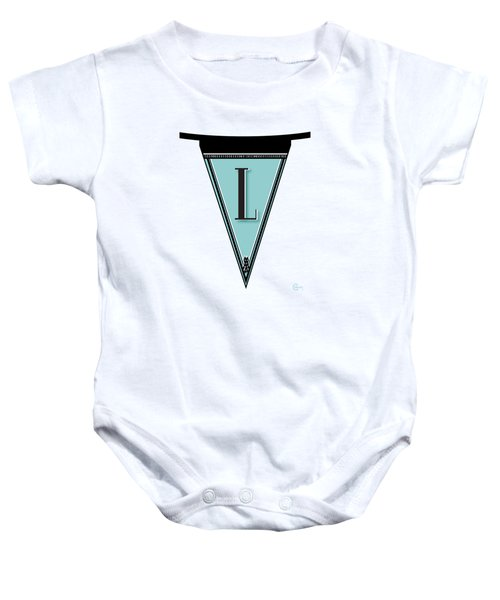 Pennant Deco Blues Banner Initial Letter L Baby Onesie
