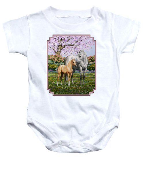 Mare And Foal Pillow Pink Baby Onesie