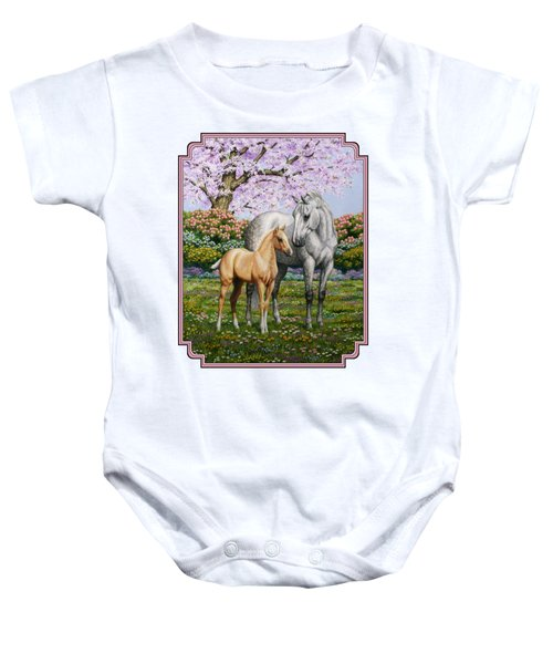 Mare And Foal Pillow Pink Baby Onesie by Crista Forest