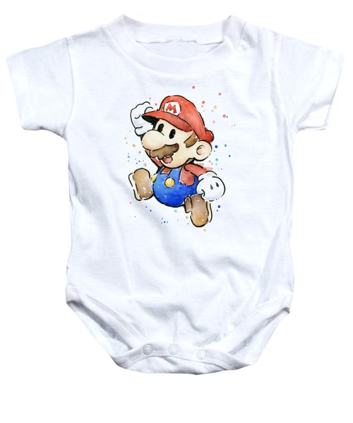 Mario Watercolor Fan Art Baby Onesie