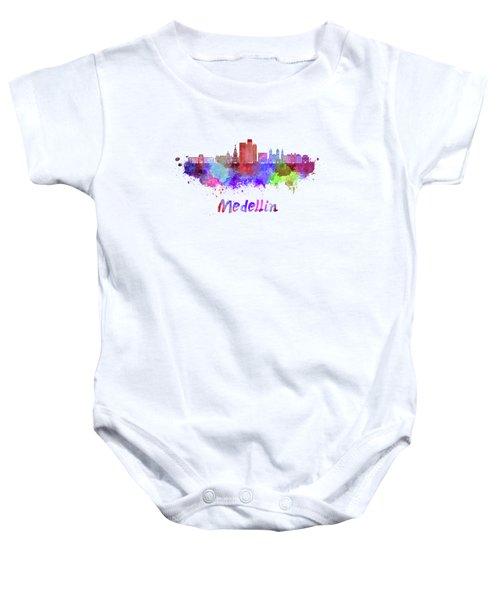 Medellin Skyline In Watercolor Baby Onesie