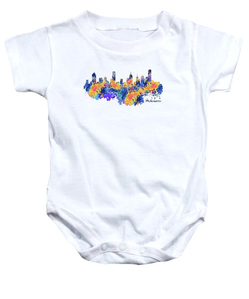 Melbourne Watercolor Skyline Baby Onesie