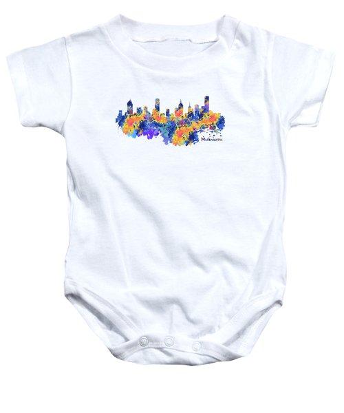 Melbourne Watercolor Skyline Baby Onesie